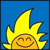 ראש של דמות מצוירת מחייך עם פנים כתומות ושיער צהוב ארוך שדומה לשמש שזורחת על רקע כחול סולידי