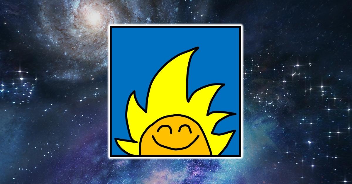 לוגו ימים מיוחדים לעסקים מרחף בחלל. לוגו ימים מיוחדים לעסקים הוא ראש של דמות מצוירת מחייך עם פנים כתומות ושיער צהוב ארוך שדומה לשמש שזורחת על רקע כחול סולידי.
